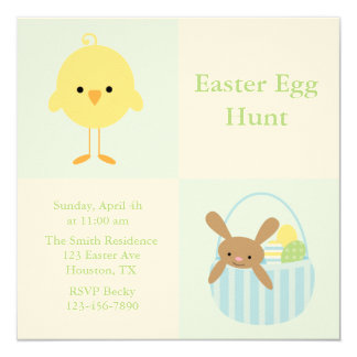 Spring Friends Easter Egg Hunt Invitiations 5.25x5.25 Square Paper Invitation Card