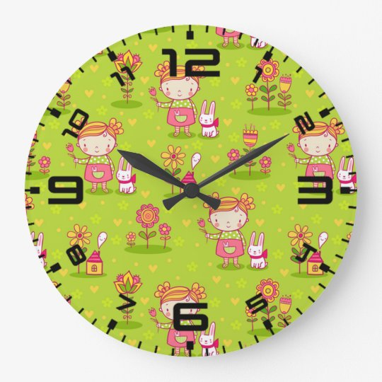 Spring Fun With Little Girl Large Clock