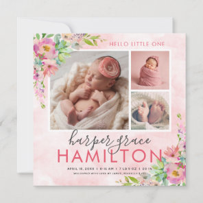 Spring Garden Baby Girl Photo Birth Announcement