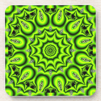 Spring Garden, Bright Abstract Lime Green Coaster