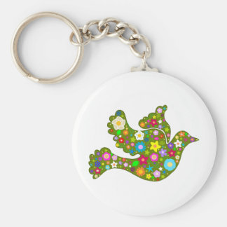 Spring Garden Dove Basic Round Button Key Ring