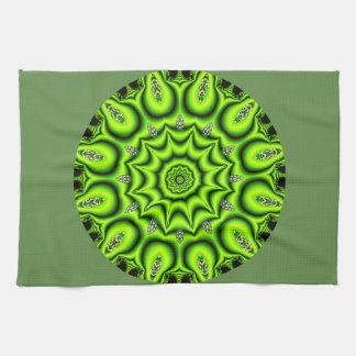 Spring Garden Mandala, Bright Abstract Lime Tea Towel