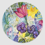 Spring Garden Watercolor Painting Round Stickers