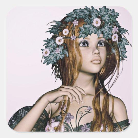 Spring Girl Square Sticker