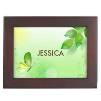 Spring Green Background With Butterfly Keepsake Box