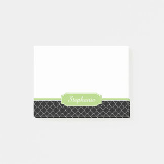 Spring Green Black Quatrefoil Monogram Post-it Notes