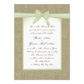 """Spring Green Burlap and Bow Country Wedding 5.5"""" X 7.5"""" Invitation Card"""