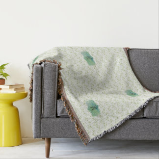 Spring Green Chevron Print with Watercolor Badge Throw Blanket