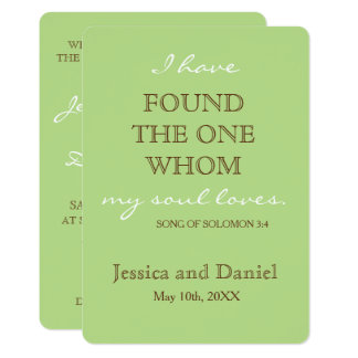 Spring green & chocolate brown (Song of Solomon) 13 Cm X 18 Cm Invitation Card