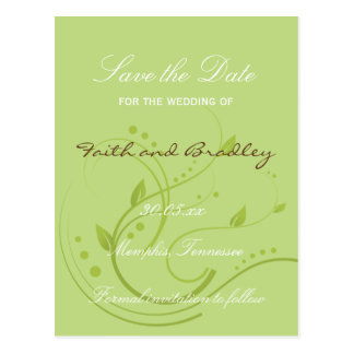 Spring Green & Chocolate SAVE THE DATE Postcard