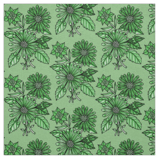 Spring-Green Floral Bouquet Fabric