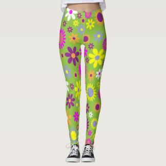 Spring green flower leggings