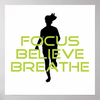 Spring Green Focus Believe Breathe Poster