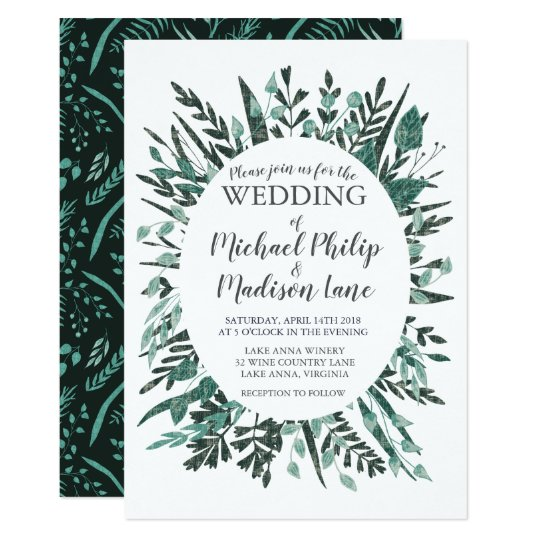 Spring Green Foliage Wedding Invitation