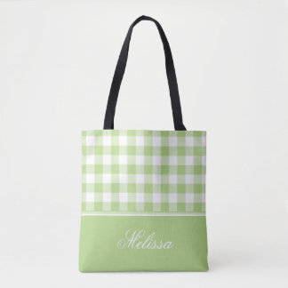 Spring Green Gingham | Personalized Tote Bag