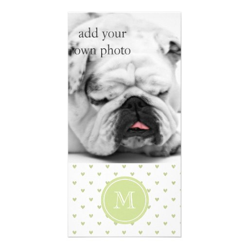 Spring Green Glitter Hearts with Monogram Personalized Photo Card