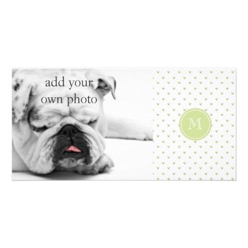 Spring Green Glitter Hearts with Monogram Custom Photo Card