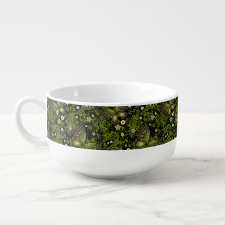 Spring Green-gold Pattern Soup Bowl With Handle