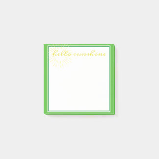 Spring Green Hello Sunshine Post-it Notes