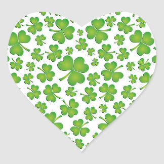Spring Green Irish Shamrock Heart Heart Sticker