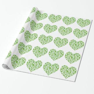 Spring Green Irish Shamrock Heart Wrapping Paper