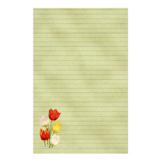 Spring Green Lined With Tulips Stationery