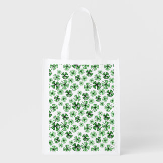 Spring-Green Lucky Shamrock Clover Reusable Grocery Bag