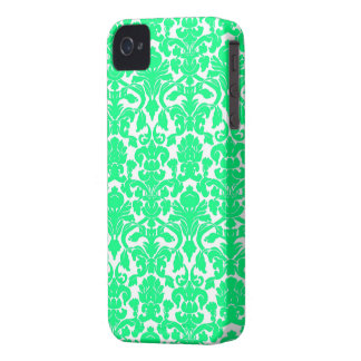 Spring Green Ornate Floral Damask Pattern Case-Mate iPhone 4 Cases