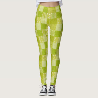 Spring Green Patchwork Leggings