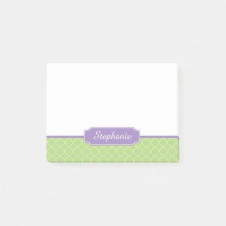 Spring Green Purple Quatrefoil Monogram Post-it Notes
