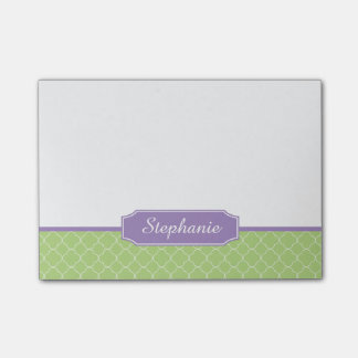 Spring Green Purple Quatrefoil Monogram Post-it® Notes