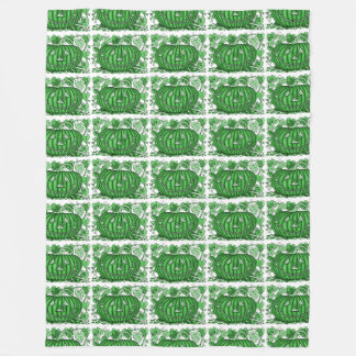 Spring-Green Spidery Pumpkin Fleece Blanket