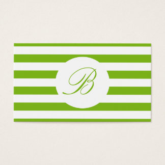 Spring Green Striped With Monogram Business Card