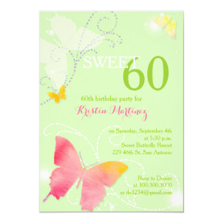 Spring Green Sweet 60th Birthday Party Invitations