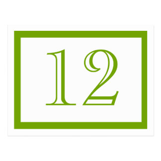 Spring Green Table Number Cards Post Cards