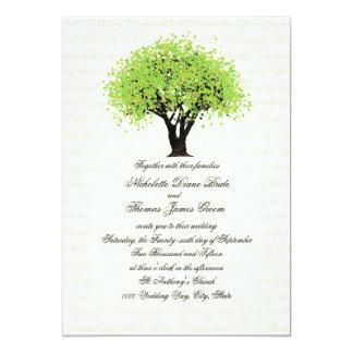 Spring Green Tree Dancing Blooms Wedding 13 Cm X 18 Cm Invitation Card