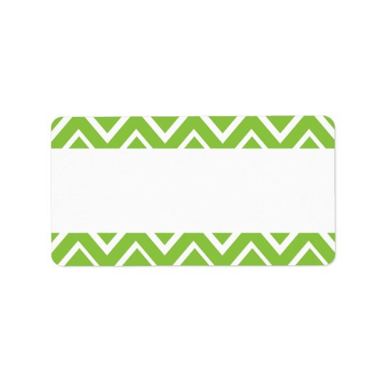 Spring green whimsical zigzag chevron pattern label
