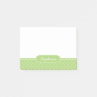 Spring Green White Quatrefoil Monogram Post-it Notes