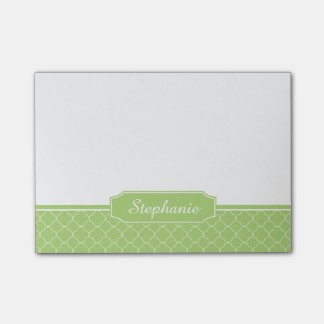 Spring Green White Quatrefoil Monogram Post-it® Notes