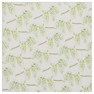 Spring green willow catkins watercolor fabric