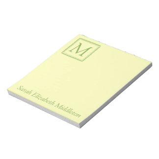 Spring Greenery and Cream Wreath Monogram Notepad