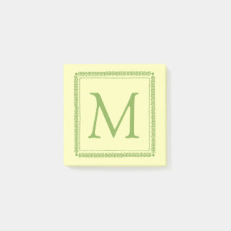 Spring Greenery and Cream Wreath Monogram Post-it Notes