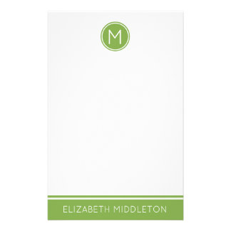 Spring Greenery on White Monogram Stationery