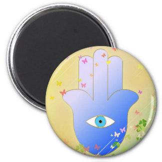 Spring Hand of Fatima 6 Cm Round Magnet