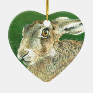 Spring Hare Ceramic Heart Decoration