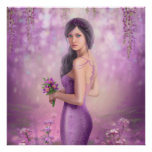 Spring Illustration beautiful Fantasy woman with p Poster