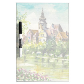 Spring in small city on the river dry erase board