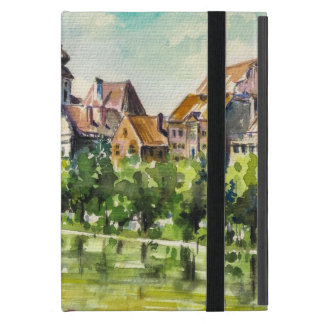 Spring in small city on the river iPad mini case