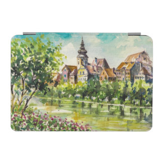 Spring in small city on the river iPad mini cover