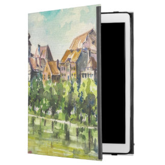 "Spring in small city on the river iPad pro 12.9"" case"